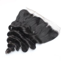 5pcs / lot Remy Lace Frontal Closures Cheveux bruns brésiliens Cheveux mélangés longueurs Nautral Black 130% Loose Wavy Swiss Lace Frontals