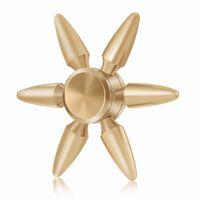 Wholesale bullet brass - Luxury Brass EDC Fidget Spinner DIY Six Arm King Kong Hand Spinner Bullet Style Metal Tri-spinner 2 3 4 6 Leaf Fingertips Gyro