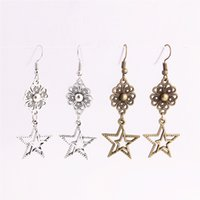 12pcs / lot en alliage de métal Zinc Flower Connector Star Pendentif Charm Drop Earing Diy Jewelry Making C0772