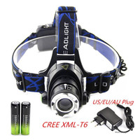 Wholesale rechargeable cree bike light for sale - Outdoor Hiking zoomable CREE XML T6 Headlight T6 headlamp LED Head Lamp Rechargeable led zoom bike head light x battery AC charger