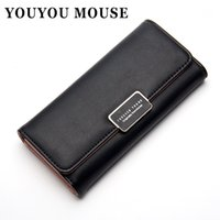 Porte-monnaie Simple Pas Cher-YOUYOU MOUSE Fashion Ladies Wallet Long 3 Fold Clutch Japon et Corée du Sud Sweet Solid Simple Women Wallet Small Fresh Purse