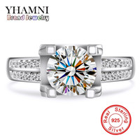 Wholesale Pure Silver Wedding Rings - Original 100% Pure Sterling Silver Rings Jewelry Inlay 2 Carat 8mm Sona CZ Diamant Wedding Rings for Women R004