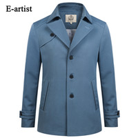 Großhandel-E-Künstler Mens Slim Fit Business Casual Single Breasted Trench Coat Frühling Herbst Overcoat Jacke Short Outwear Plus Größe 5XL F13