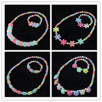 Wholesale Tied Bracelet Necklace - 24 Styles Kawaii Kids Necklace Bracelet Set For Sale Candy Colorful Bead Necklace for Girl Butterfly Bow Tie Flower Choker