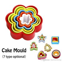 Wholesale Baking Fruit Cakes - 6PCS set Kitchen baking Tool Fondant Biscuit Cake Cookie Maker Mold Mould Edge fruit Cutter Slicing Party DIY Plastic Mold Set