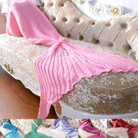 Wholesale anime mattress for sale - 6 Colors sizes Cosplay Mermaid Tail Blankets Mermaid Tail Sleeping Bags Cocoon Mattress Knit Sofa Blanket Handmade Living Room Sleep Bag