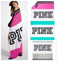 Wholesale VS Pink Blanket Towel cm Striped Pink Letter Washcloth Swimwear Blanket Beach Towels Colors OOA2365