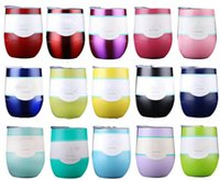 Wholesale Colored Glass Mugs - HOTSALE IN STOCK!! 9oz Egg Cup Stemless Cups Double Layer Beer Mugs Stainless Steel Wine Glasses Bottles 9oz as Vacuum Insulated Cups