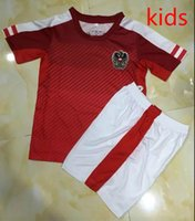 Wholesale Designer Kids Shirt - 16-17 Austria home red soccer jerseys kids designer short sleeve shirt top thai quality soccer uniform football suit free shipping