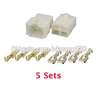 Wholesale electrical female connectors - 5 Sets kits All New 4 Pin Way DJ7041-6.3 Electrical Wire Connectors Plug Male and female Automobile Connector plug