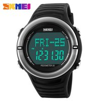 Wholesale Stop Watch Monitor - Heart Rate Monitor Sport Watch Men Digital LED SKMEI 1111 Alarm Chronograph Waterproof Back Light Stop Watch Auto Date Silicone