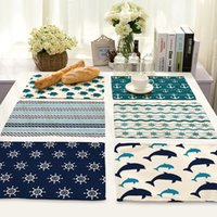 Wholesale Wholesale Printed Table Linens - 16 Design Mediterranean Style Linen Cotton Placemat Rectangular Placemat for Plates Coffee Cup Anchor Printed Place Table Mat