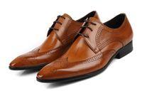 Wholesale Classic Closures - Men's Handmade Genuine Leather Classic Lace Up Closure Brogue Dress Oxford Shoes Men's Wedding Shoes
