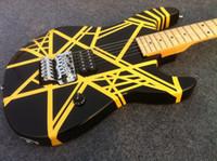 Wholesale ernie ball strings for sale - Edward Van Halen Wolf Music Man Ernie Ball Axis Yellow Stripe Black Electric Guitar Tremolo Bridge Maple Neck Abalone Dot Fingerbaord Inlay