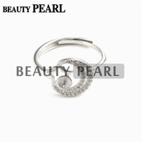 Bulk of 3 Pieces Zircon Star e Moon Pearl Ring Configurações 925 Sterling Silver Semi Mount DIY Jewelry Making