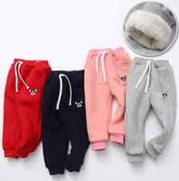 Wholesale Baby Embroidered Pants - New Children thicken Sports pants cotton baby boys girls Leisure Trousers High qulity kids cute cartoon animals embroidered Sweatpants
