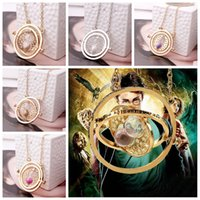 Wholesale Harry Potter Necklace Time Converter Hermione Granger Rotating Time Turner Chain Sablier Pendant Necklace Sandglass Hourglass
