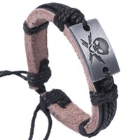 Wholesale Pirate Rope - 24pcs Hot selling The Pirate Genuine Leather Adjustable Wristbands Charm Alloy Bracelet Jesus Stainless steel Bangles Jewelry Free shipping