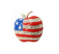 Wholesale apple brooch pin - Europe and the United States new alloy jewelry rhinestones apple brooch cute accessories sweater custom wholesale