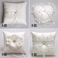 Wholesale Lace Ribbon Ring Pillow - Hot Sale 2017 Ivory Western Ring Pillows & Flower Baskets Satin Ribbon Lace Appliques Bead Pearl Wedding Ceremony