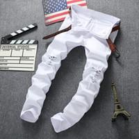 Wholesale Designer Mens Slim Fit Pants - Wholesale-Swag Mens Designer Brand Black Jeans Skinny Ripped Destroyed Stretch Slim Fit Hop Hop Pants With Holes For Men