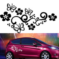 Wholesale cars butterfly doors online - HOT Waterproof Universal Flower and Butterfly Car Sticker PVC for Auto Truck CEA_30U