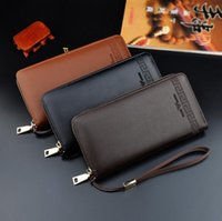 Wholesale gentleman photo - Factory wholesale brand bag gentleman style leather Long Wallet Purse custom color business card are embossed leather hand Wallet