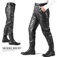 Wholesale Motorcycle Warm Winter Pants - Wholesale- Black winter classic casual motorcycle high waist warm leather pants mens trousers plus velvet thickening windproof PU pants