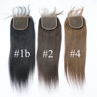 Wholesale 4x4 Top Piece Hair - 7A Color #1b #2 #4 Brazilian Straight Hair Top Lace Closures 3 part 1B 4X4 Peruvian Virgin Lace Closures Hair Piece Soft Cheap Human Hair