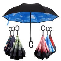 Wholesale C J Handle Umbrella Windproof Reverse Folding Double Layer Inverted Umbrella Self Stand Inside Out Rain Protection C Hook Hands For Car