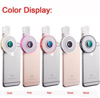 Wholesale Angle Eyes Led - New 6 in 1 Cell Phone Camera Lens Kit LED Selfie Fill-in light + Fisheye + Macro + Wide Angle Universal Clip Fish Eye Lens