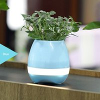 Wholesale Night Light Mobile - 2017 bluetooth Smart Music Flower pots intelligent real plant touch play flowerpot colorful light long time play bass speaker Night light