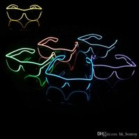 Wholesale Shutter Party Sunglasses - El glasses El Wire Fashion Neon LED Light Up Shutter Shaped Glow Rave Costume Party DJ Sunglasses DHL Free Shipping 50Pcs Lot