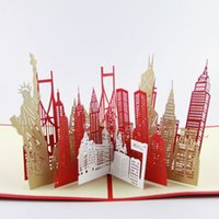Wholesale The New York City silhouette card D kirigami card handmade greeting cards gift for men