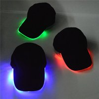 Wholesale Red Hat Fabric Wholesale - LED Lighted Glow Club Party Black Fabric Travel Hat Baseball Cap Hip-Hop Adjustable Fabric Hat Glow Halloween Cap