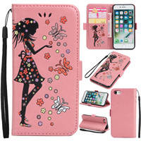 Mais recentes Glitter Girl Flower Fairy PU Leather Wallet Cell Phone Case Encerramento magnético com Lanyard para iphone 7 8 plus 6s 6s plus 5s