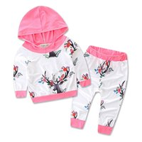 Wholesale Deer Baby Coat - autumn new arrival Christmas Deer sets baby Girl clothing set children hoodies pants warm clothes girls sets Coat Pant
