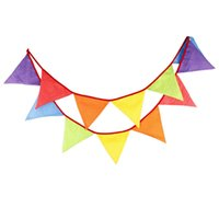 Wholesale Wholesale Pennant Strings - Wholesale- 12 Flags 3 m Home Furnishing decorative multicolor Pennant point wavelet cotton printing string flag outdoor wedding decoration