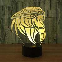 Wholesale ship figure head resale online - 3D Lion Head Illusion Lamp Night Light DC V USB Charging th Battery Dropshipping Retail Box