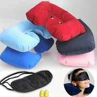 Wholesale Inflatable U Shaped Pillow - Travel Set 3PCS U-Shaped Inflatable Travel Pillow Eye Cover Earplugs Neck Rest U Shaped Neck Pillow Air Cushion KKA1781