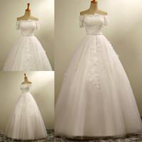 vestido de noiva de seda com crepe venda por atacado-2017 Real Photo surpreendente Luxo Bateau vestido de baile de casamento Vestidos de manga curta Lace apliques vestidos de noiva cristais brancos Tulle nupcial vestido.
