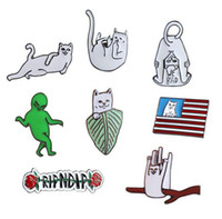 Wholesale Cute Aliens - Simple Fashion Japanese hyperbole Enamel Cute Cat Aliens letter Charm Pins brooches for girls gift