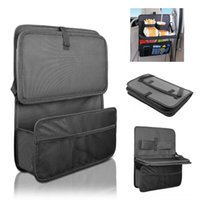 Wholesale travel trays car - Auto Back Car Seat Organizer With Food Tray Table Durable Oxford Fabric Multi-function Foldable Travel Storage Bag