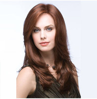 Wholesale Similar Human Hair Long - Z&F Long Brown Synthetic Wigs Wig Curly 50CM Human Hair With Bangs Popular Super Star Similar Style Hair