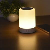 boîte de musique de nuit achat en gros de-En gros - LED Touch Lamp Night Light Haut-parleur Bluetooth fonctionnel avec fente pour carte TF Sound Box Touch LED Lampe de table mains libres