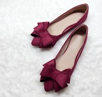 Tamanho 35-41 7 cores Bowtie Designer Flat Shoes Point Toe Woman Shoes Outono Korean Candy Flats Girl Footwear ML2496