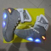 Wholesale Run Led - Air Mag Mens Back To The Future Lighting Mags Mens Basketball Shoes With LED Lights High Top Sneakers Black Grey with Box