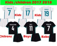 Wholesale Baby Boys White Shirt - Kids Real Madrid 2017 2018 Children Boys Ronaldo White Soccer Jerseys+shorts Uniform Set 17 18 Baby Black Footbal Shirts BALE Kroos Camiseta