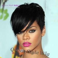 ingrosso eleganti parrucche nere-Rihanna Style New Stylish 1B colore Nero Breve rettilineo Africa parrucche americane Parrucca di capelli sintetici di Ladys / parrucche Parrucca completa senza cappuccio