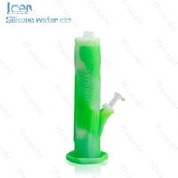 Wholesale Glass Freezer - New Silicone Ice Bong Waxmaid Ice Water Pipe Bong with ice catacher downstem glass bowl freezer safe non toxic 11 colors